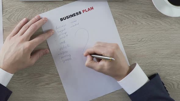 Thumbnail for Male Putting Question Mark Next to Business Plan Elements Balling Paper Doubts