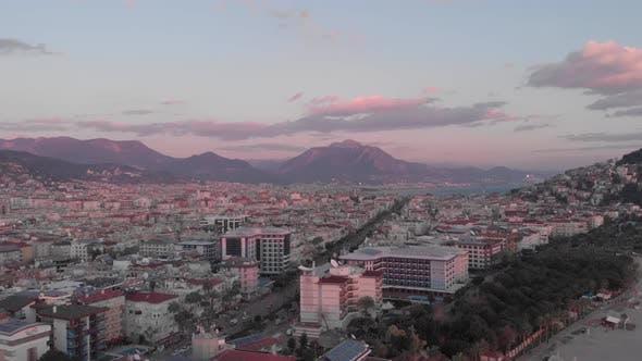 Alanya city in sunset dusk, Turkey