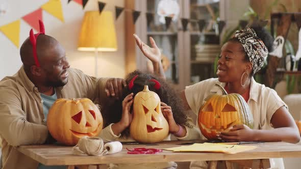 Thumbnail for Loving Afro-American Family Having Fun at Home on Halloween