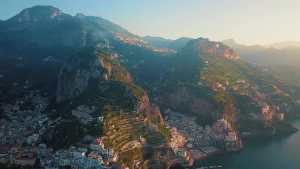 Thumbnail for Atrani Mountain Aerial Shot By Dawn, Amalfi Coast