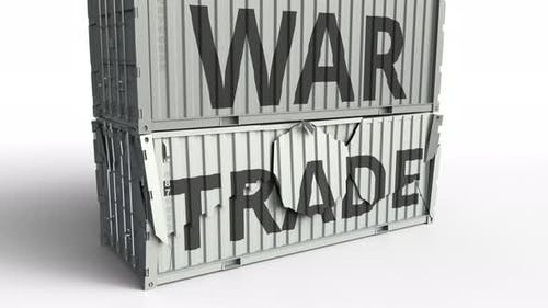 Container with TRADE Text Being Broken By Container with WAR Inscription