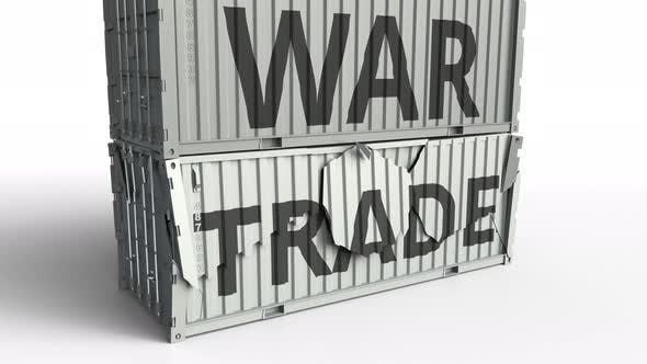 Thumbnail for Container with TRADE Text Being Broken By Container with WAR Inscription