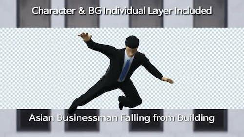 Asian Businessman Falling From Building(Loop)