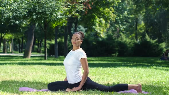 Thumbnail for Woman Exercising in Park on Beautiful Day. Yoga