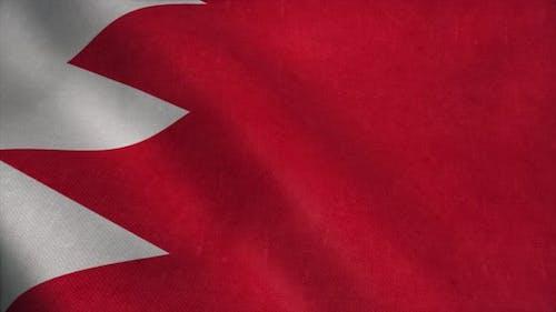 Bahrain Flag Waving in the Wind