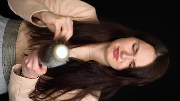 Thumbnail for Balding Problem Women. Girl Hand Holding Loss Hair Comb