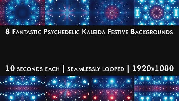 Thumbnail for 8 Fantastic Psychedelic Kaleida Festive Backgrounds Pack