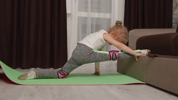 Thumbnail for Child Kid Training Gymnastics Stretching Twine at Home Children Girl Making Sport Exercises
