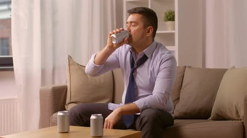 Alcoholic Drinking Alcohol From Can at Home