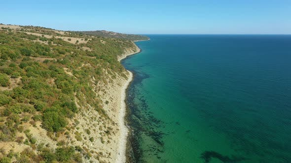 Thumbnail for Aerial view to the beautiful rocky beach