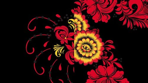 Khokhloma, traditional Russian pattern of bright red flowers and berries