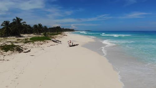 Couple in a Tropical Paradise Vacation in Dominican Republic Sunny Day