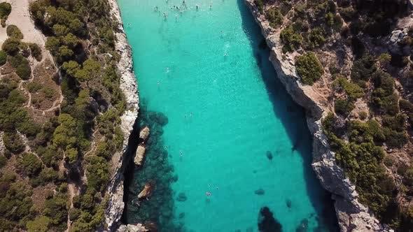 Aerial: Cala des Moro in Mallorca, Spain