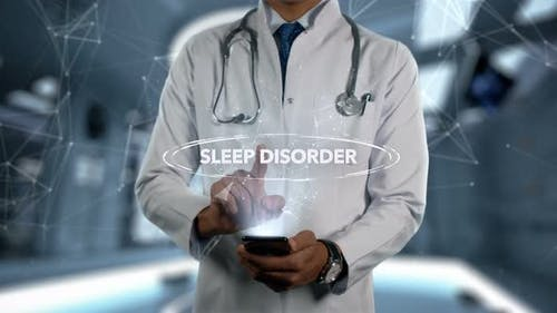 Sleep Disorder Male Doctor Hologram Illness Word