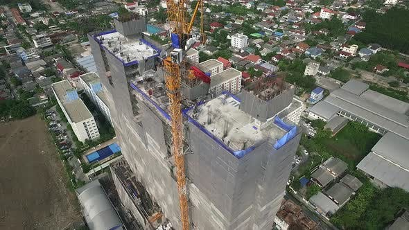 Thumbnail for Aerial View of Modern High Rise Building Under Construction