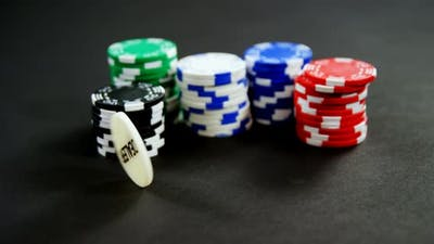 Casino chips on poker table in casino