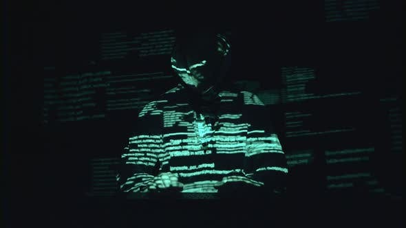 Spyware for Hacking Sites. Black Background. Silhouette