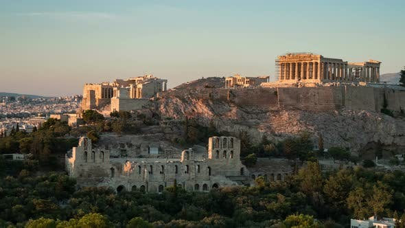 Cover Image for Ancient Athens Acropolis As a Timelapse Shot with Solemn Columns in Summer