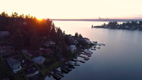 Northwest Bellevue Seattle Panoramic Sunset Lake Washington Aerial Helicopter View