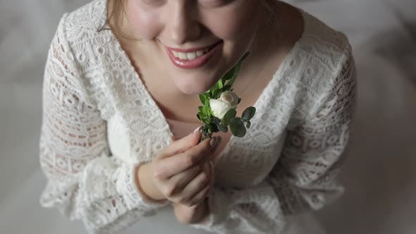 Thumbnail for Beautiful, Lovely Bride in Wedding Luxury Dress. Wedding Bouquet in Hands for Groom