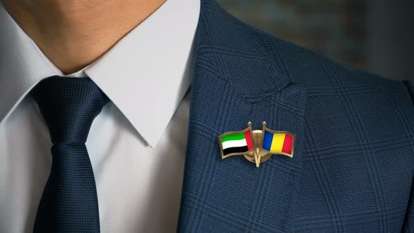 Cover Image for Businessman Friend Flags Pin United Arab Emirates Romania