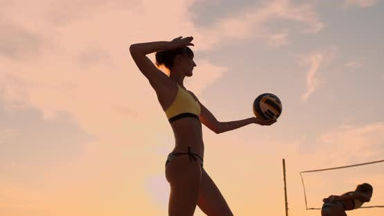 Thumbnail for Beach Volleyball Serve - Woman Serving in Beach Volley Ball Game. Overhand Spike Serve. Young People