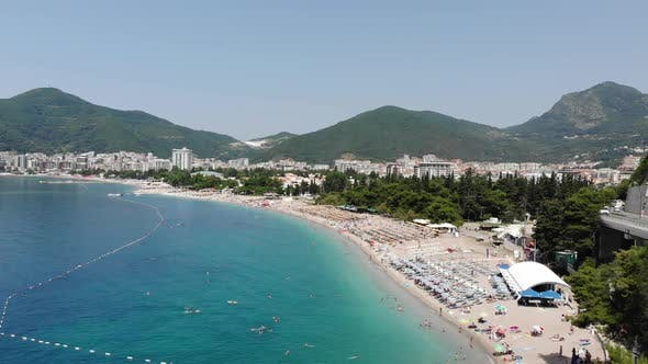 Thumbnail for Aerial View of Beach in Budva City, Montenegro. Balkans, Adriatic Sea, Europe