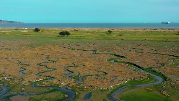 Aerial view over textured Irish landscape.