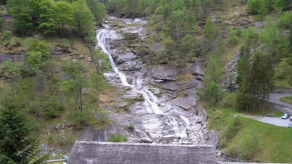 Thumbnail for Wild Waterfall in the Mountains of Italy. Pure Wild Highland Waterfall in Stony Ground