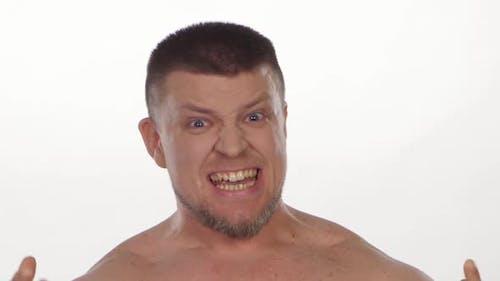 Irritated Man Screaming. White