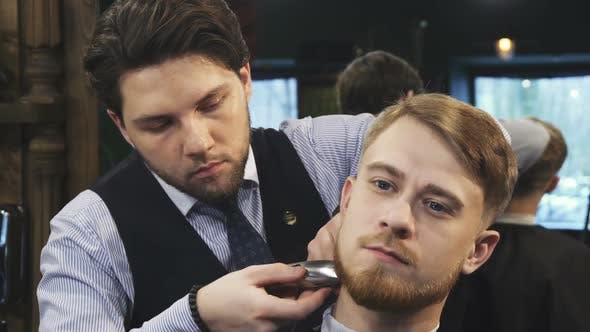 Thumbnail for Professional Barber Grooming Handsome Young Man
