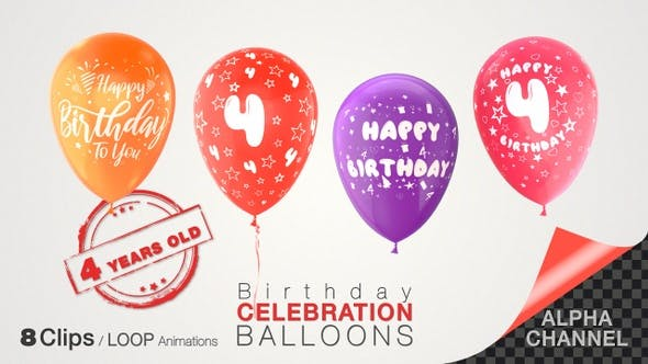 Thumbnail for 4th Birthday Celebration Balloons / Four Years Old