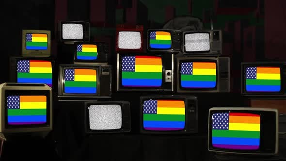 Gay America, LGBT pride flag with Star Field from US Flag on Retro TVs.