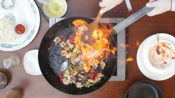 Thumbnail for Fresh Seafood in the Frying Pan on Fire