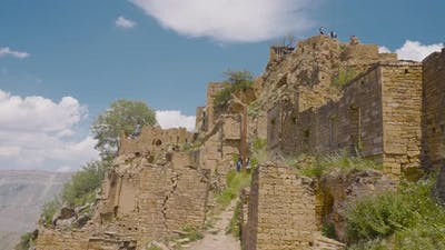 Stone walls of ruins of old city