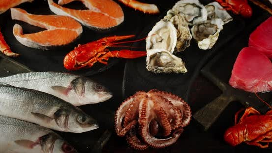 Thumbnail for Fresh Seafood on a Cutting Board on the Table.