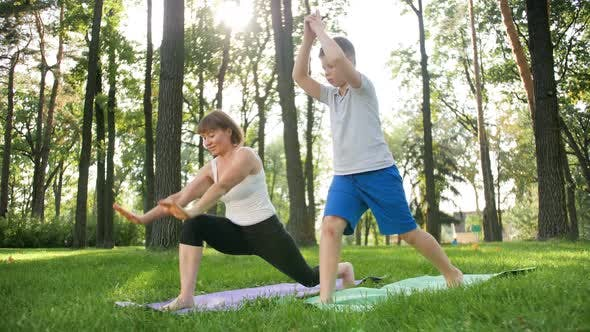 Footage Of Teenage Boy Practising Yoga With Middle Aged Mother On Grass At Park By Kryzhov On Envato Elements