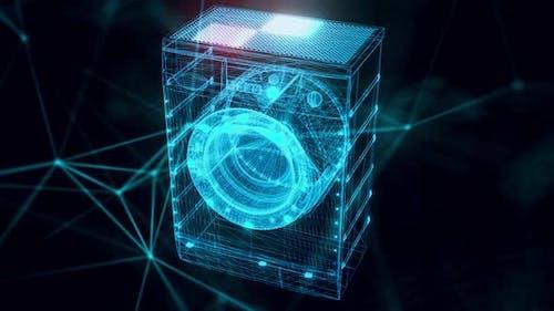 Washing Machine Hologram Close Up 4k
