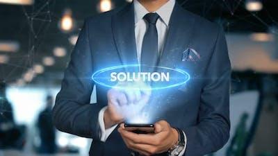 Businessman Smartphone Hologram Word   Solution