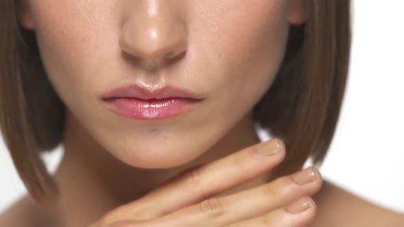 Close-up of Pretty Woman Lips