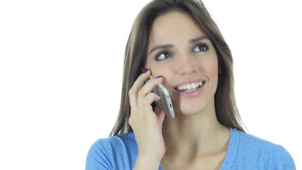 Thumbnail for Phone Call, Business Woman Talking On Smartphone, White Background