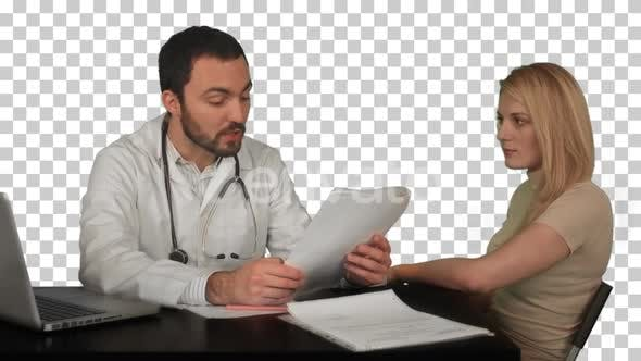 Thumbnail for Doctor and patient discussing - visit in the office, Alpha Channel
