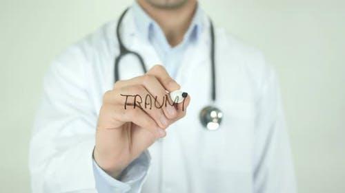 Trauma, Doktor Schreiben auf transparentem Bildschirm