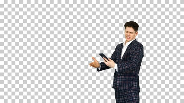 Thumbnail for A Young Businessman Dancing After He Argues on The Phone Alpha