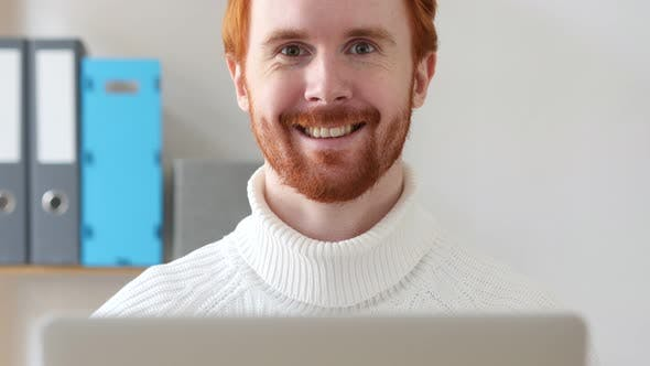 Thumbnail for Man with Red Hairs Smiling at Work
