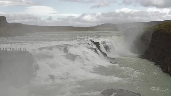 Thumbnail for Huge Cascade Of Famous Gullfoss Golden Waterfall With Water Flows Over Rocks