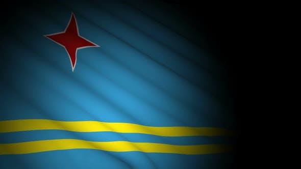 Aruba Flag Blowing in Wind