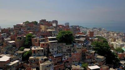 Aerial view of a Brazilian favela in rio de Janeiro, Brazil. 4K