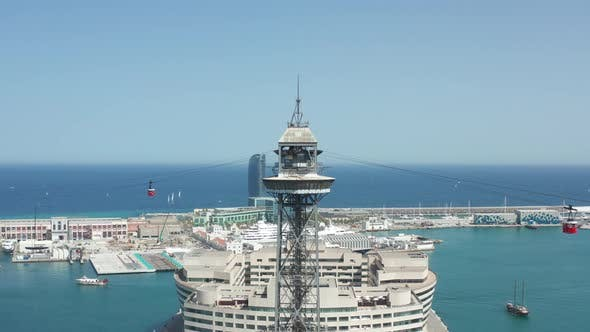 Thumbnail for Aerial View of Cable Car Tower in Barcelona Port