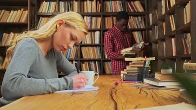 Mixed Race Students are Studying in Library